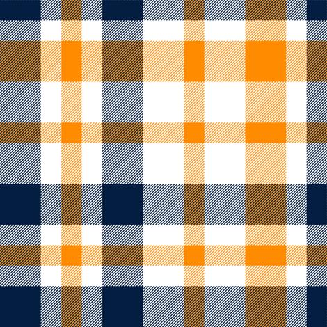 navy and orange plaid, buffalo plaid, check, tartan,  fabric by charlottewinter on Spoonflower - custom fabric