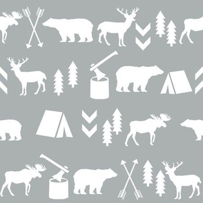 woodland, grey woodland fabric, outdoors camping bear moose deer