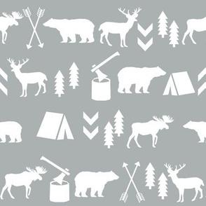 woodland, grey woodland fabric, outdoors camping bear moose deer