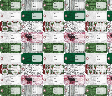 Jamie_Kalvestran_Woodland_Holiday_Gift_Tags fabric by scrap-bags on Spoonflower - custom fabric