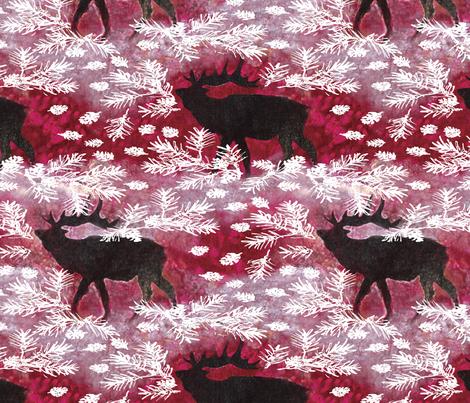 Jamie_Kalvestran_Woodland_Holiday_ElkPrint-32x32 fabric by scrap-bags on Spoonflower - custom fabric