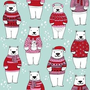 polar bear sweaters // ugly sweater fabric cute polar bears in winter knitted sweaters winter fabric