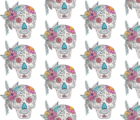 Boho Sugar Skull in Watercolor fabric by alchemyhome on Spoonflower - custom fabric