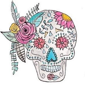 Boho Sugar Skull in Watercolor