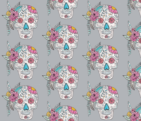 Boho Sugar Skull in Gray fabric by alchemyhome on Spoonflower - custom fabric