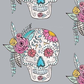 Boho Sugar Skull in Gray