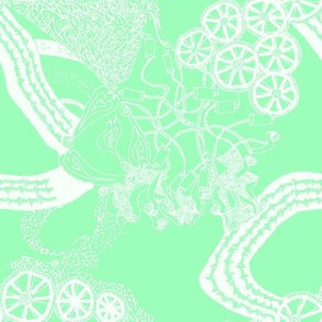 Healing Arts Heal Hearts, White Lace on Mint Green,  HAMG 2 Large