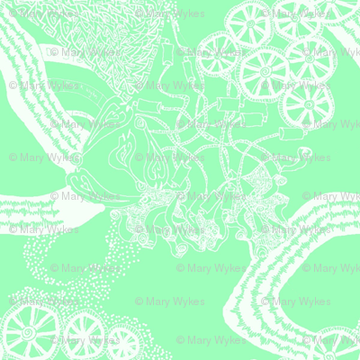 Healing Arts Heal Hearts, White Lace on Mint Green,  HAMG 2  Small
