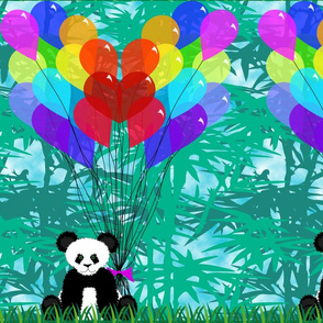 Panda Bamboo Balloon Hearts 1