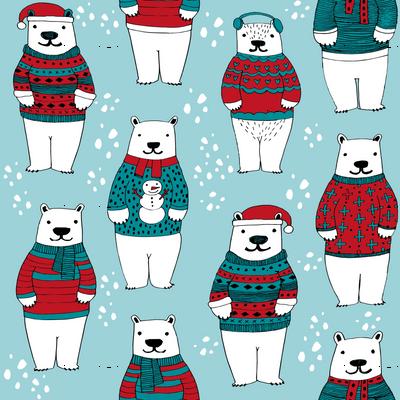 polar bears in sweaters // christmas polar bears fabric cute ugly sweater fabric cute christmas designs