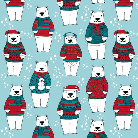 polar bears in sweaters // christmas polar bears fabric cute ugly sweater fabric cute christmas designs fabric by andrea_lauren on Spoonflower - custom fabric