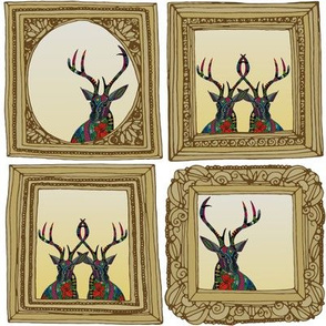 poinsettia deer framed gift tags