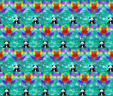 Panda Bamboo Balloon Hearts half size fabric by deanna_konz on Spoonflower - custom fabric