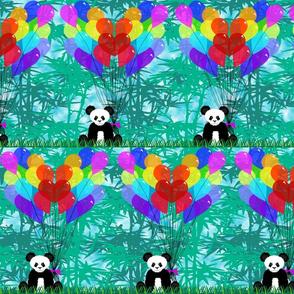 Panda Bamboo Balloon Hearts half size