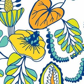 Summer Tropique Garden Blue & Yellow