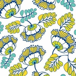 Jungle Blossoms White & Blue