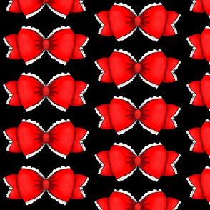 Red Bow 1- Black Background