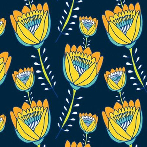 Tropical Tulips Navy Blue