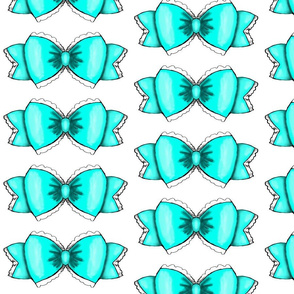 Turquoise Bow 1- White Background
