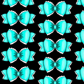 Turquoise Bow 1- Black Background