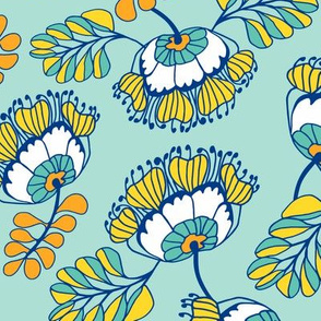 Jungle Blossom Teal & Blue