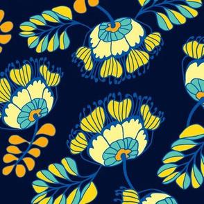 Jungle Blossom Navy Blue
