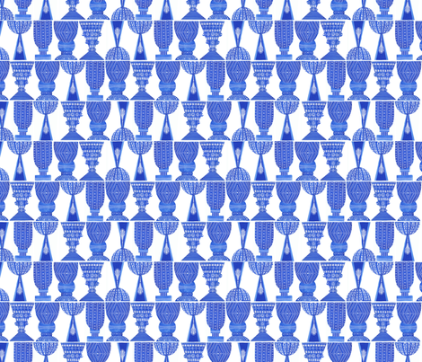 Blue Vases I fabric by madelinetrait on Spoonflower - custom fabric