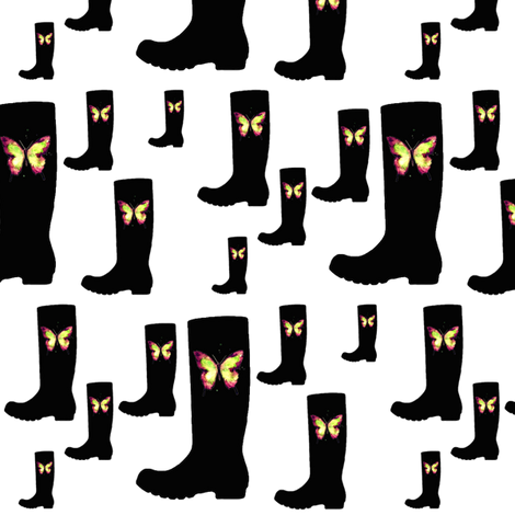 Butterfly Boots fabric by janinez on Spoonflower - custom fabric