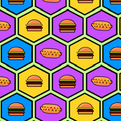 Neon Burgers and Hotdog