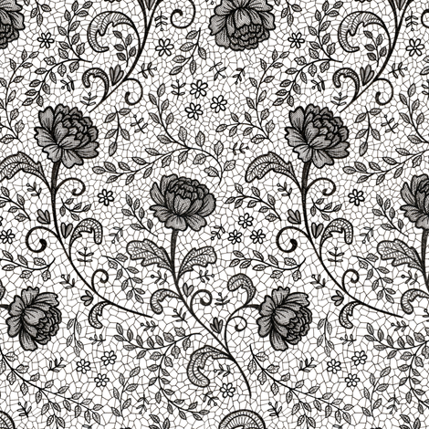 Lace full pattern - Black on White fabric by hazelfishercreations on Spoonflower - custom fabric