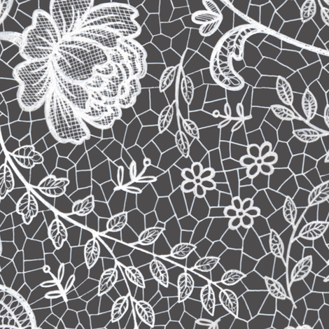 Lace full pattern - White on Charcoal fabric by hazel_fisher_creations on Spoonflower - custom fabric