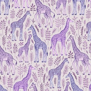 Little Giraffes in Purple and Grey