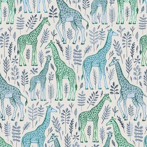 Little Giraffes in Blue and Green