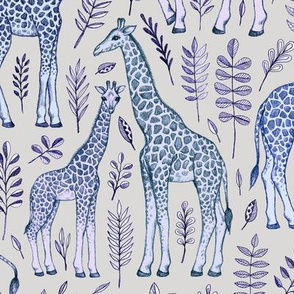 Giraffes and Leaves in Blue and Grey