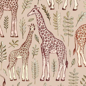 Giraffes in Neutral Tan and Brown