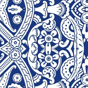 Willoughby Damask ~ Willow Ware Blue and White