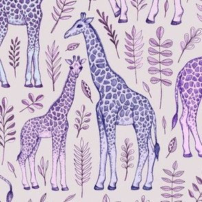 Giraffes in Purple and Grey