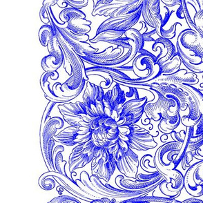 Rococo Border Print ~ White on Sevilla Blue and White
