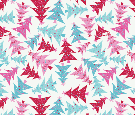 Crazy Christmas Trees-Pink fabric by taylorshannon on Spoonflower - custom fabric