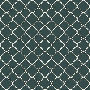 Lattice Pattern White on Charcoal