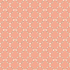 Lattice Pattern Cream on Coral