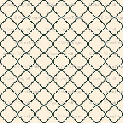 Lattice Pattern Charcoal on Cream