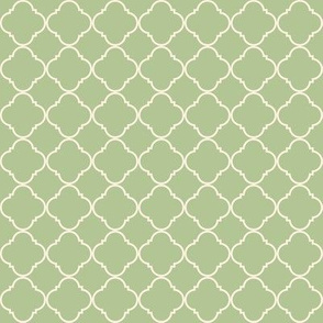 Lattice Pattern Cream on Green