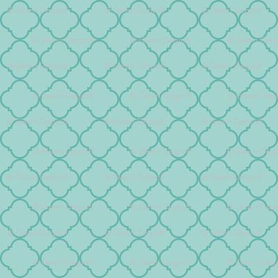 Lattice Pattern Teal on Light Blue
