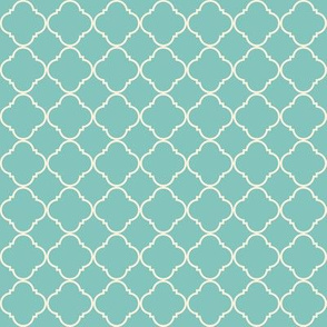 Lattice pattern Cream on Teal