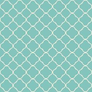 Lattice pattern Cream on Teal