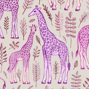 Giraffes in Pink and Purple on Grey