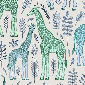 Giraffes in Blue and Green