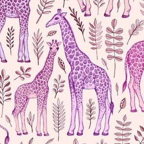 Giraffes in Pink and Purple on Cream
