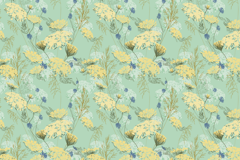 WIld Meadow Flowers  fabric by at_the_cottage on Spoonflower - custom fabric